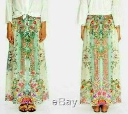 NWT $260 Johnny Was JENLYNN Silk Maxi Skirt S Smocked Waist fit M Floral Print