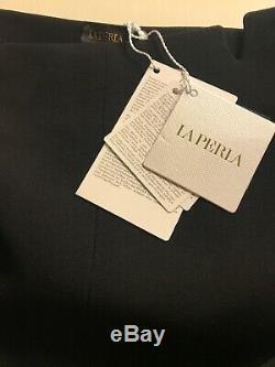 NWT La Perla Black Virgin Wool Skinny Fitted High Waist trousers Sz 6 IT 42
