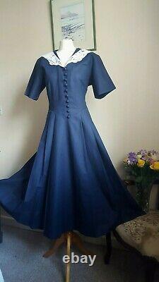 Navy Blue White Sailor Lace Collar Maxi Dress Size 16 Laura Ashley Vintage 80s