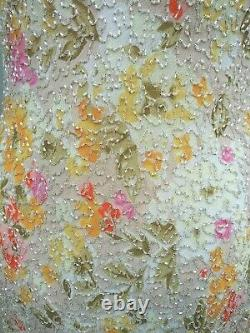 New 1980's VTG Stenay Evening Full Length Dress SMALL Beaded Flower Fitted Sexy