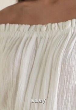 New Kalita White Cotton Gauze Maxi Dress X Small Medium (UK 10-14) Relaxed Fit