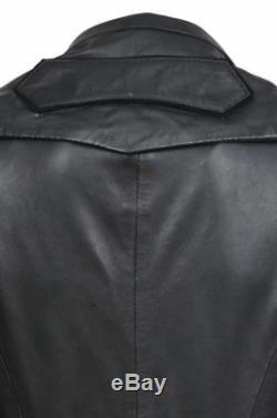 New Kathrin Ladies Edwardian Gothic Black Nappa Leather Full Length Coat Jacket
