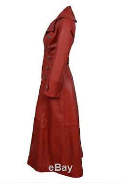New Ladies Red Gothic Full Length Women Coat Style Fitted Nappa Leather Jacket