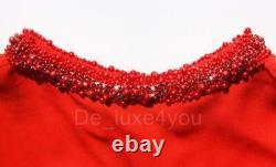 New OSCAR DE LA RENTA Silk Red Yellow Jeweled Caftan Dress FITS MOST