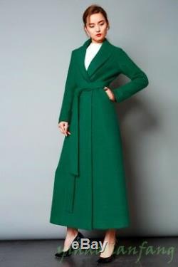 New Womens Cashmere Blend Overcoat Full Length Waist Slim Fit shawl collar Coat