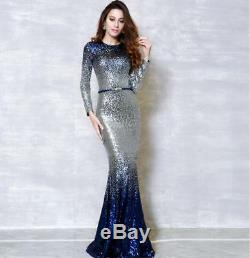 New Womens Slim Fit Sequins Full Length Maxi FishTail Dress Cocktail Ball Gown