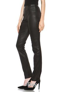 PROENZA SCHOULER $1,850 black stretch leather pants slim fitted leggings 2 NEW