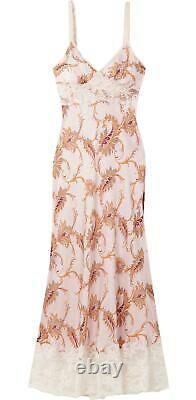 Paco Rabanne Lace Trimmed Paisley Print Satin Maxi Dress Fr 44 Uk 16