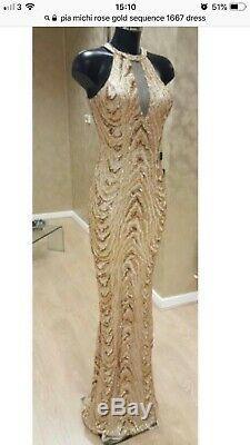 Pia Michi Gold Formal Prom Dress 38 Uk 10 Fits 8 Worn4 Photo Shoot Rosies Closet