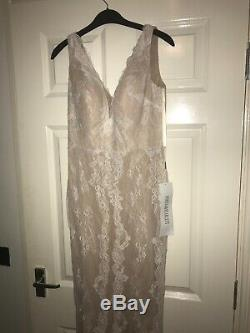 Portia and Scarlett floor length lace wedding or evening nude gown fit 8-10