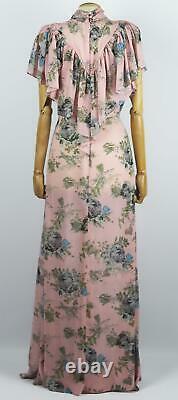 Preen By Thornton Bregazzi Ruffled Floral Print Georgette Maxi Dress Large