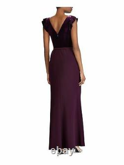 RALPH LAUREN Womens Purple Short Sleeve Full-Length Fit + Flare Formal Dress 12
