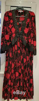 RED & BLACK DRESS CHESCA STRETCH Dress & Jacket 18/16 Fit & Flare Worn 5 hrs
