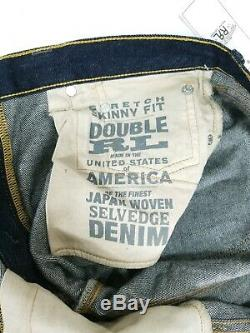 RRL RALPH LAUREN Double RL Skinny Fit Selvedge Blue Japanese Denim Jeans 28 NEW