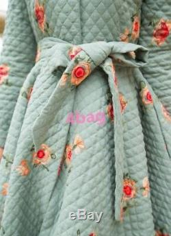 Retro Cotton Padded Coat Full Length Floral Slim Fit Trench Women's Jacket Tops