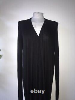 Rick Owens Lillies Nwt Sz L Black Vee Neck L/sleeve Loose Fit Maxi Jersey Dress