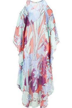 Roberto Cavalli Cold Shoulder Floral Print Silk Georgette Maxi Dress It 40 Uk 8