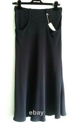 Roberto Cavalli Maxi Skirt Fit&Flare Pockets Zipper Silk LIned Black 40 European