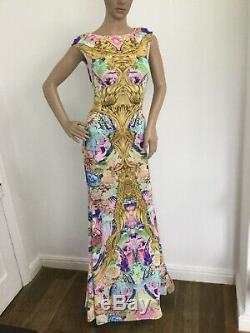 Roberto Cavalli Womens Long Maxi Dress Size 38 Uk 8 Tight Fitted Multicoloured