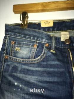 Rrl RALPH LAUREN WOMEN colored Sz 27 stretch skinny fit japan woven paches