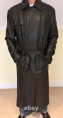 Ruffo Research Italian one off design full length black Leather coat fit 44-46