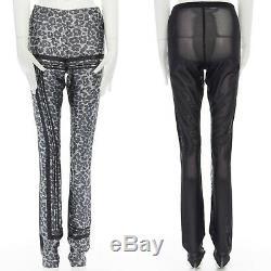 SACAI grey leopard geometric printed rayon sheer back slim fit pants JP2 25