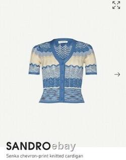 SANDRO PARIS White/Blue Stripe Shirt Dress size 12/14 BNWT