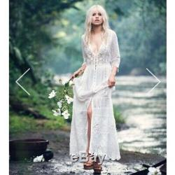 SPELL BRIDE & GYPSY COLLECTIVE WHITE LACE MAXI DRESS SIZE XS 6-8 uk best fit