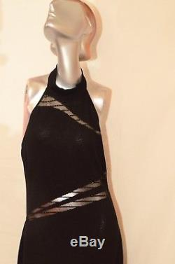 ST. JOHN EVENING Black Knit Halter Full Length Dress/Gown with Mesh Fitted Size 10
