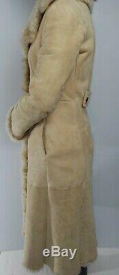 SUEDE SHEARLING XS full length coat toscana sheepskin Aspen style long fur line