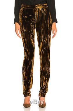 Saint Laurent Velvet Silk Viscose Glamore Bronze Straight Fit Pants Italy $1,190