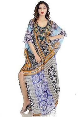 Sakhee Kaftans One size fit beach wear silk kaftan full length embellished