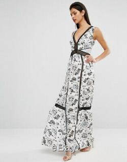 Self Portrait Clarissa White Printed Maxi Dress UK 6 fits size 8