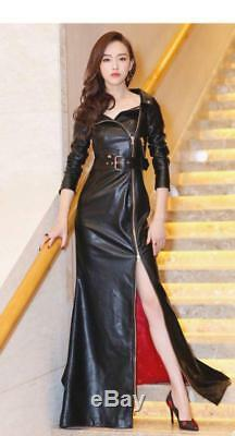 Sexy Women Slim Fit Zipper pu Leather Buckle Full Length Party Dress Jacket Coat