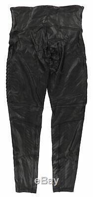 Spanx Women's Faux-Leather Motto Tummy Control Leggings Liquid Look Sz Medium
