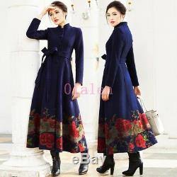 Spring 100% Cashmere Thicken Slim Fit Floral Stand Collar Full Length Coats 2019