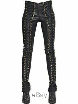Spring New Women Trousers Sexy Real Leather Slim Fit Skinny Lace Up Punk Pants