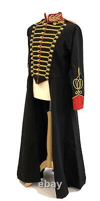 Steampunk Military Black/Red Full Length Long Coat To Fit Chest 42/44