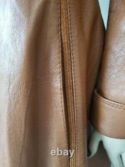 Stunning VTG IMPERIAL LEATHER A-LINE FITTED COAT withKnit Inserts FULL LENGTH M