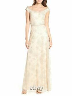 TADASHI SHOJI Womens Beige Full-Length Fit + Flare Formal Dress Size 6