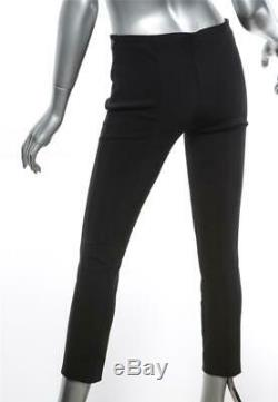 THE ROW Black Stretch Tapered Cinch-Front Mid Rise Side-Zip Form Fitting Pant 2