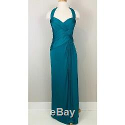 Tadashi Shoji Collection Green Halter Fitted Bodice Full Length Dress Gown M Med
