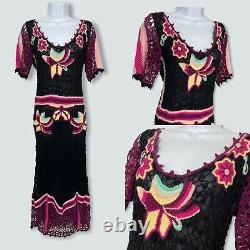 Temperley Crochet Knit Maxi Dress Size 10 Linen Blend Floral Fitted Hippie Boho