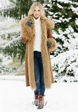 Tobacco Fur-lined Faux Fur Full-length Coat