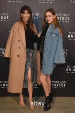 Topshop Camel Relax Fit Double Breasted Boyfriend Crombie Long Coat UK 6 16