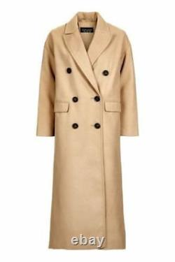Topshop Camel Relax Fit Double Breasted Boyfriend Crombie Long Coat UK 8 16