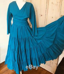VTG Droopy & Browns Teal Tiered Maxi Skirt & Top (Dress) Fits Size 8 Boho Hippie