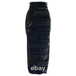 VTG Moschino 1990s Black Velvet Italian Fashion Text Maxi Skirt IT 42 fits 4/6