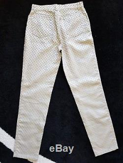 Versace Gold Pants Checked Size 33 XL Made in Italy Slim Fit Ultra RARE Women's