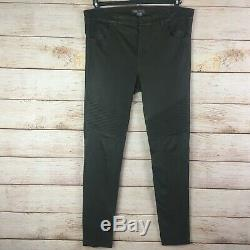 Vince Fitted Green Stretch Leather Skinny Motorcycle Pants Sz 12 NEW NWT
